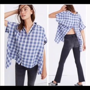 Madewell blue plaid central open back shirt